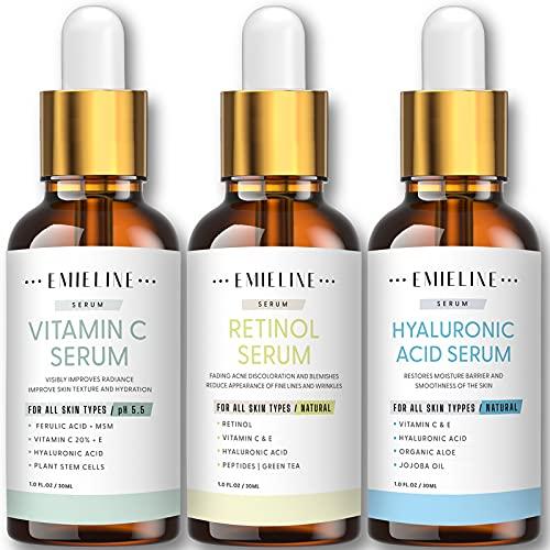 51aIe kpreL. SL500  - Emieline Anti Aging Serum, Vitamin C Serum, Retinol Serum, Hyaluronic Acid Serum, Face Serum Set Natural Organic with Apply to Brightening, Anti Wrinkle, Dark Spot Corrector for Face, Moisturizing