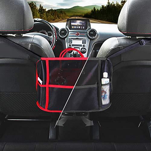 LHYLZY Car Net Pocket Handbag Holder, Car Cache - Handbag Holder, Car Purse Storage & Pocket Holder, 3-Layer Car Mesh Organizer, Seat Back Net Bag Pocketbook Holder Hammock.(Black)