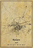 Póster de mapa de Badajoz de España con impresión en lienzo, estilo vintage, sin marco, decoración de regalo 30,5 x 40,6 cm