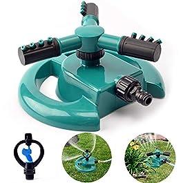Kyerivs Arroseurs d'eau de Jardin Automatique Rotatif à 360 degrés avec 3 Bras de pulvérisateur jusqu'à 90 m pour…