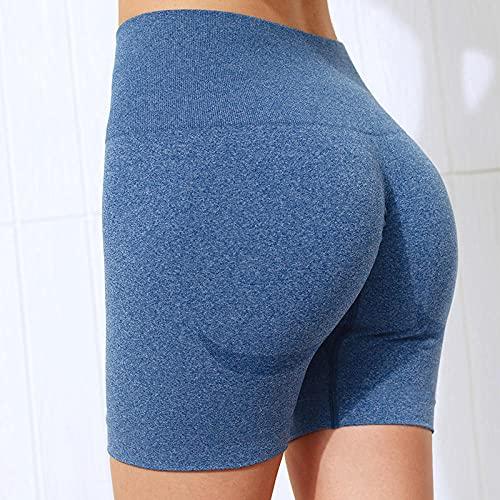 MLLM Piernas Pantalones Anchos Sólido,Shorts Deportivos de Secado rápido;Pantalones de Yoga moldeadores de Cintura Alta-Blue_S,para Danza, Yoga Yoga Pantalones