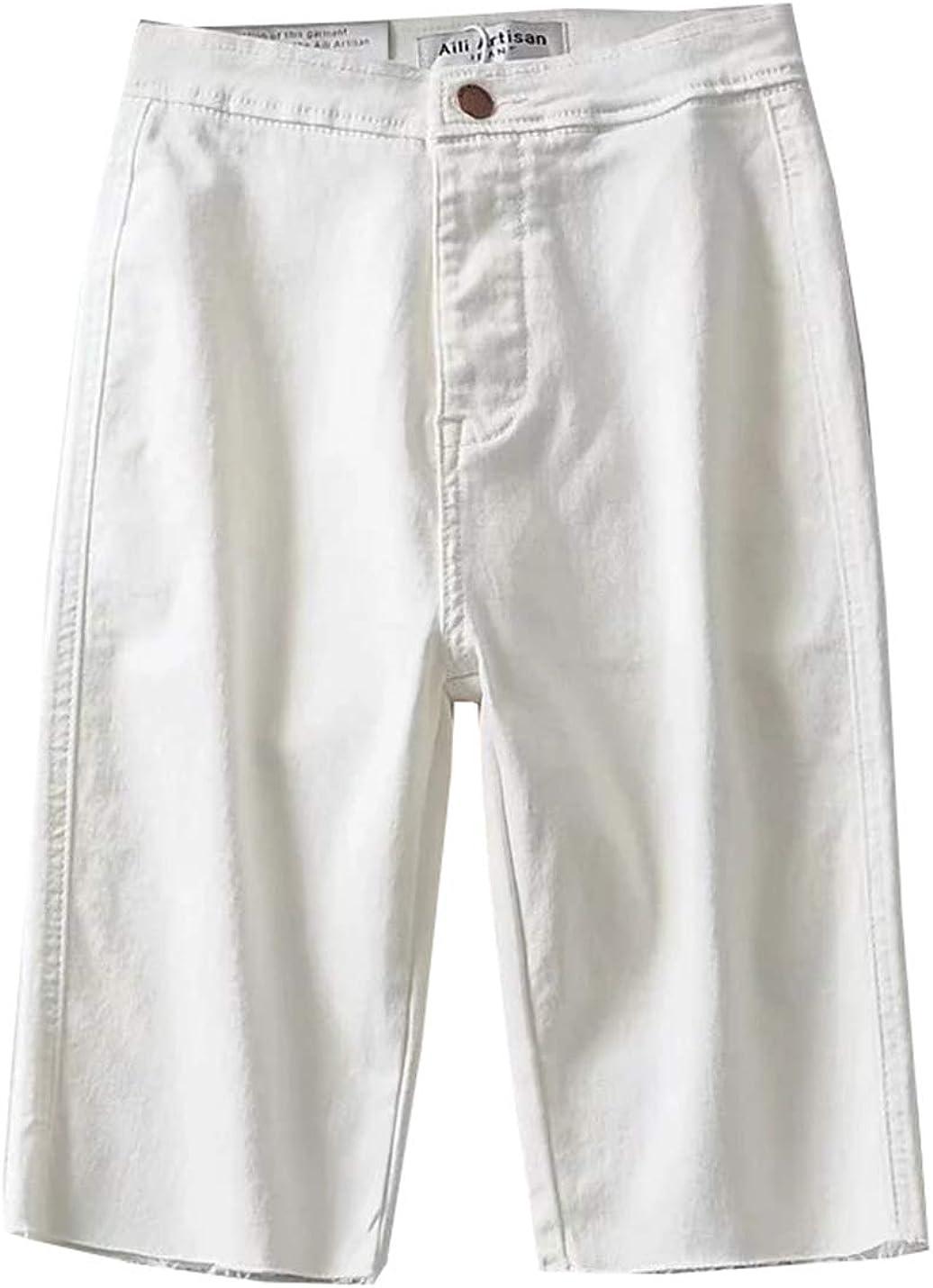 Arlita Women's Fray Hem Stretch Bermuda Jean Short Denim Shorts