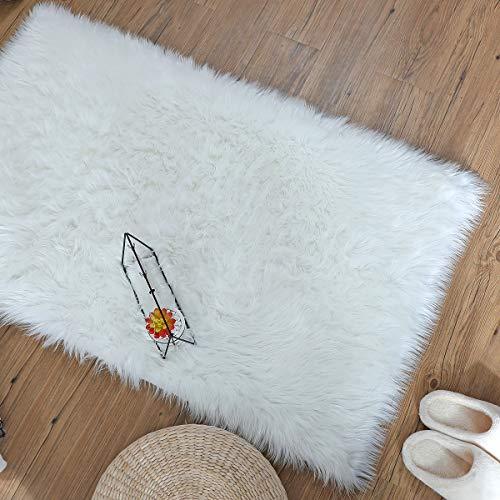 ZPX Alfombra mullida, Alfombra de Piel de Oveja,Alfombra de Piel sintética,universales alfombras de Varios tamaños utilizadas en pbedroom, Sala de Estar,Silla o sofá(Blanco, 50x150cm)