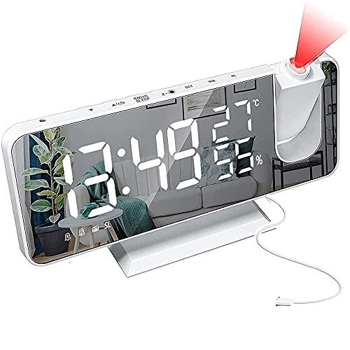 Monumen ProyeccióN Reloj Despertador Digital con Radio FM Pantalla LED de Espejo Gran DíGito Proyector de 180 ° Superficie de Espejo Reloj Despertador-Blanco