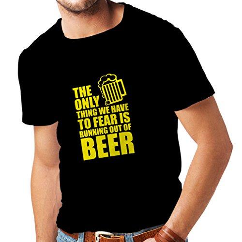 T-Shirt Femme Avoir Peur de ne Pas Avoir de bière - pour la fête, Les Chemises à Boire (Small Noir Jaune)