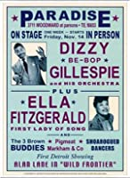 ポスター デニース ローレン Dizzy Gillespie and Ella Fitzgerald at Paradise 1947 額装品 アルミ製ベーシックフレーム(ホワイト)