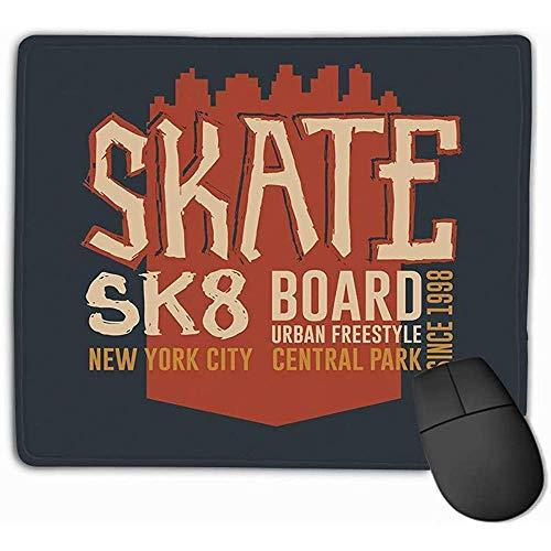 Aangepaste Muis Pad,30X25CM Unieke Bedrukte Muis Mat Ontwerp Skateboarden Grafische Kleding Ontwerp Freestyle New York City Skate Board Typografie Embleem Stempel