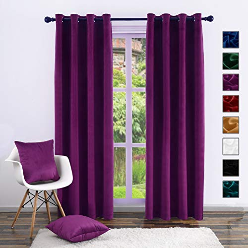 Velvet Curtains,Twin Six Blackout Curtains with Grommets for Bedroom Living Room Nursery Sliding Glass Door Window Curtain Panel with 2 pcs Pillow Cases (Set of 2 Panels, 52 by 84 Inch, Plum)