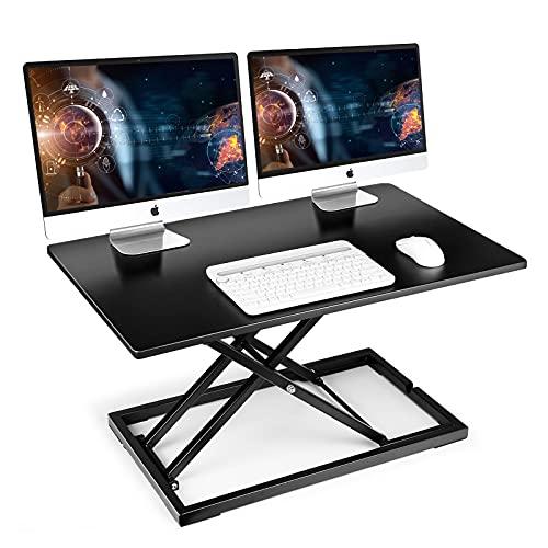 Stehpult Sitz Steh Schreibtischaufsatz, 80 x 51cm Aufsatz für Schreibtische, Höhenverstellbar Sitz-Steh-Arbeitsplatz Stehpult Konverter 6cm zu 41cm Für Büro Zuhause