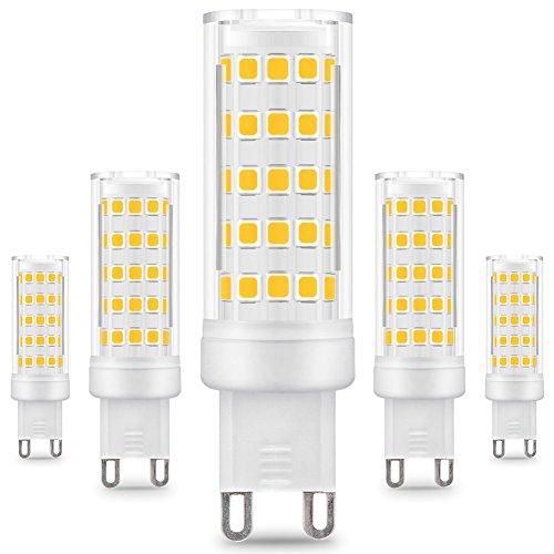 Prosperbiz - Confezione da 5 lampadine a LED G9, 8 W/650 lm, sostituisce lampadine incendescenti da 75 W, luce bianca calda da 3000 K, angolo del fascio di luce 360°