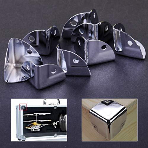 NIKOVAS 8pcs Metal Corner Bracket Angle Brace Protectors for Wooden Trunk Box Chest Flightcase
