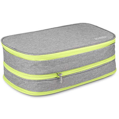 圧縮バッグ 衣類収納バッグ YKK製ジッパー 軽量 防水 大容量 簡単圧縮 ファスナー圧縮スペース60%節約 便利グッズ 衣類仕分け 乾湿分離 出張 旅行 対応15L (グレー)