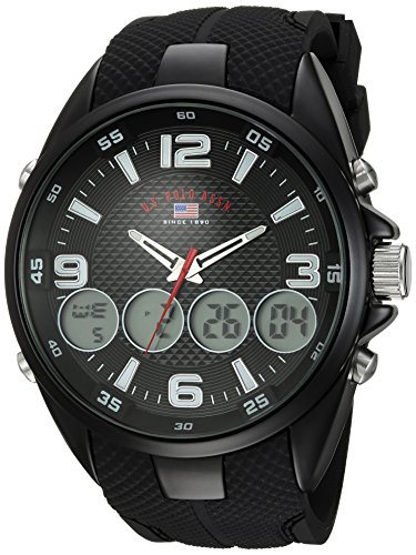 U.S. Polo Assn. Reloj analógico de cuarzo para hombre con correa de goma, negro, 27 (Modelo: US9596)