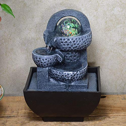 Grey Pots with Light Ball Water Fountain With LED Light Perfect Indoor Water Feature Gift Idea