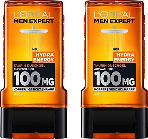 L'Oréal Men Expert Hydra Energy Taurin Duschgel, Minz-Extrakt belebt und regeneriert die Haut (Gesicht, Körper und Haare) sanft ohne auszutrocknen (2 x 200ml)