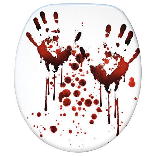 WC Sitz mit Absenkautomatik, große Auswahl, schöne Motive, hochwertige und stabile Qualität aus Holz (Blood Hands)