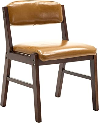 Modern Dining Room Chair,Leisure Living Room Corner Chairs PU Leather Solid Wood Chair Easy to Clean Office Chair (Color : Orange, Size : Walnut Color)