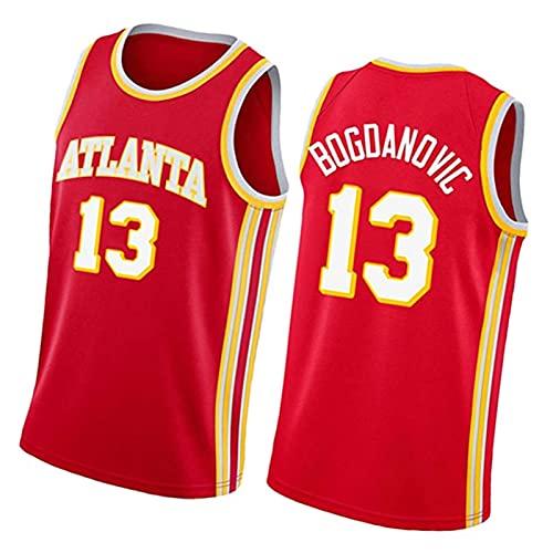 WXZB Bogodanóvic Men's Basketball Jersey Háwks # 13, Chaleco Deportivo sin Mangas Transpirable, Camiseta de Manga Corta Suelta Red-L