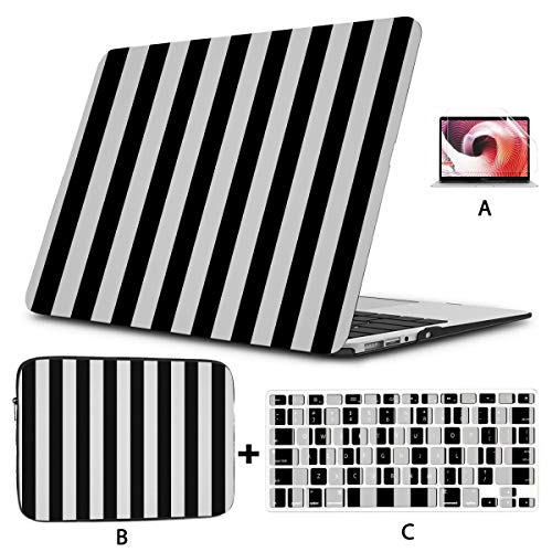 MacBook Pro 15 Cover Striped Black White Case MacBook Pro 13 Hard Shell Mac Air 11'/13' Pro 13'/15'/16' with Notebook Sleeve Bag for MacBook 2008-2020 Version