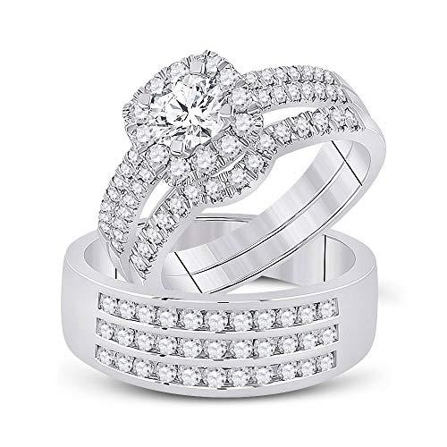 Diamond2Deal Juego de boda de oro blanco de 14 quilates con halo redondo de diamantes a juego de 2 quilates