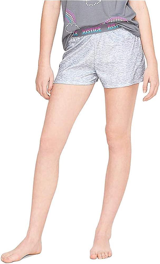 Justice Rainbow Logo Waist Pajama Shorts Light Grey