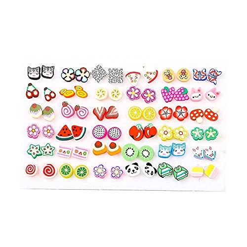 Pendientes para niñas, QWEA 36 pares de pendientes de mujer, estilos mixtos, cristales, pedrería, girasoles, geométrico, animal, plástico, pendientes de mujer-36 pares