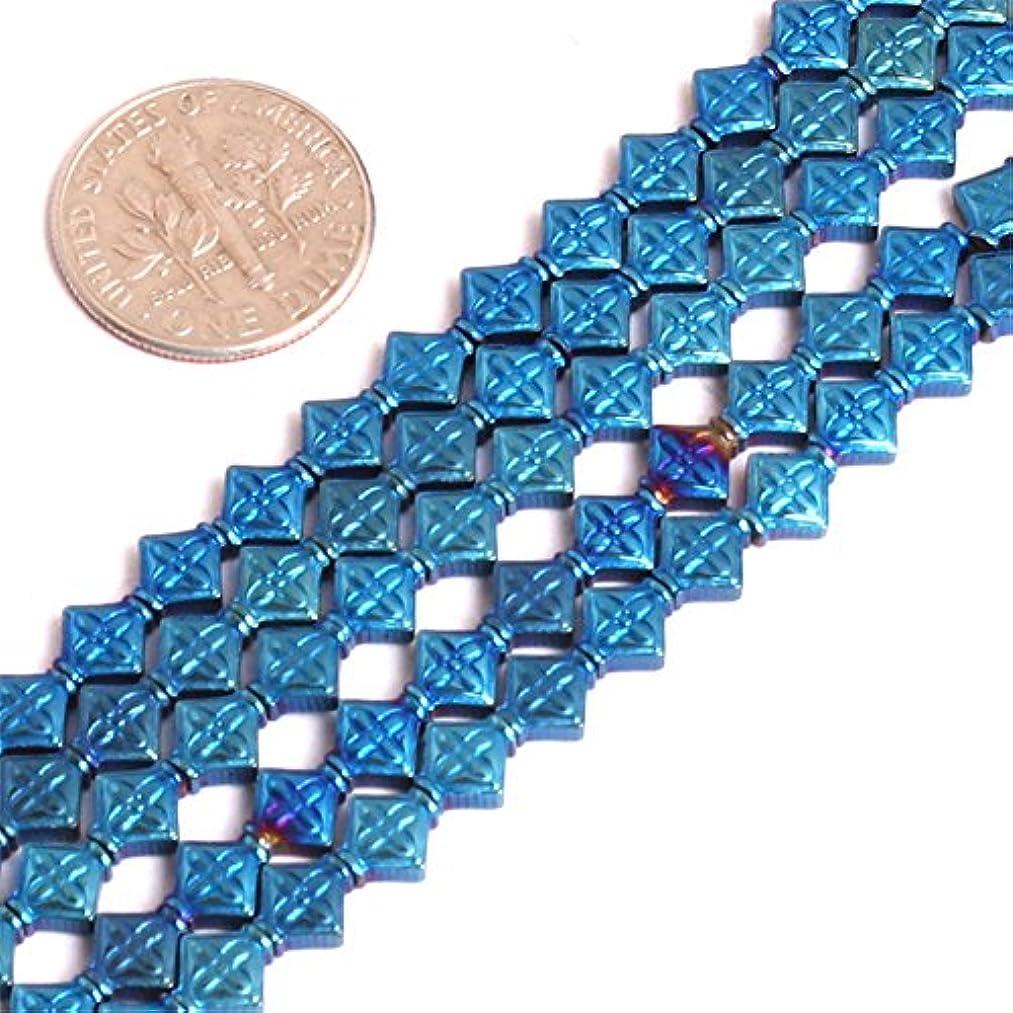 JOE FOREMAN 6mm Hematite Semi Precious Stone Diagonal Square Blue Metallic Coated Loose Beads for Jewelry Making DIY Handmade Craft Supplies 15