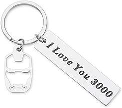 I Love You 3000 Keychain for Boyfriend Girlfriend Iron Man Gift for Dad Comic Movie Inspired Gift Avengers Endgame Avengers Fan Gift Tony Stark Gift Couples Keychain for Husband Wife Birthday