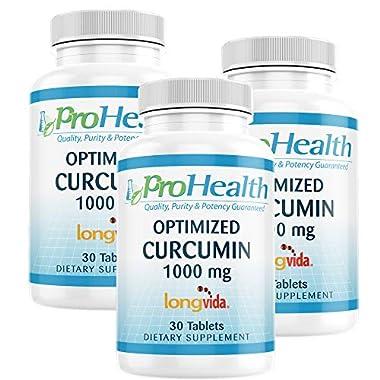 ProHealth Optimized Curcumin Longvida 3-Pack (1000 mg, 30 Tablets) (3-Bottles) 285x More Bioavailable   Joint Health…