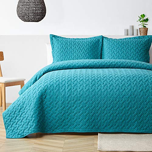 Bedsure Summer Quilt Set Queen Size Teal - Full Lightweight Bedspread - Soft Bed Coverlet (Includes 1 Quilt, 2 Shams)