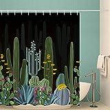 AlanRoye Kaktus-Stoff Duschvorhang Niedlich Kaktus bei Nacht Mauve Blumen Gelb Blüten Home Decor Maschinenwaschbarer Duschvorhang Badezimmer Dekor Badvorhang 183 x 183 cm
