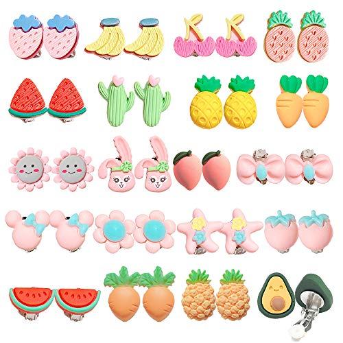 ZoneYan Pendientes de Clip Niña, 20 Pares Pendientes para Niñas, Pendientes Princesa, Pendientes De Clip Niña Sin Agujero, Pendientes Hipoalergénicos para Niñas, Creativos Frutas (Corto)