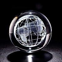 クリスタルボール 6cmレーザー彫刻アースミニチュアクリスタル3Dボールガラスグローブ球ガラス紙普通工芸飾り家の装飾置物 水晶玉の置物 (Color : Only ball, Size : 60mm)