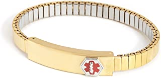 Ladies' Stainless Steel Medilog ID Bracelet with Compartment Plaque and Twist-O-Flex Expansion Band – Gold and Silver Tone