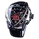 TIME24 Winner Fashion Automatic Mechanical Men's Wrist Watch Triangle Racing Dial Golden Skeleton Dial (black2)