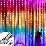 Luces de cortina LED de Navidad de 3 mx 3 m, luces navidad cortina Sendowtek, cortinas luces...