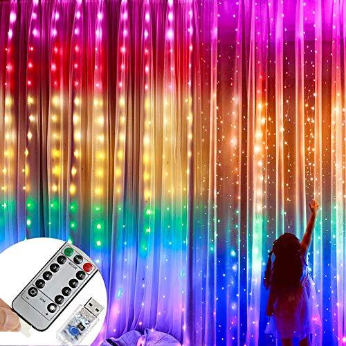 Luces de cortina LED de Navidad de 3 mx 3 m, luces navidad cortina Sendowtek, cortinas luces navidad, con luces de hadas con control remoto, 8 modos de iluminación, 4 modos de brillo