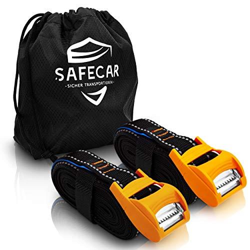 SafeCar Spanngurt mit Klemmschloss - 2er Set/Befestigungsgurt mit Gummischutz/Sehr belastbar/3,5 m Länge/Reflektor für mehr Sichtbarkeit/Inkl. Aufbewahrungstasche