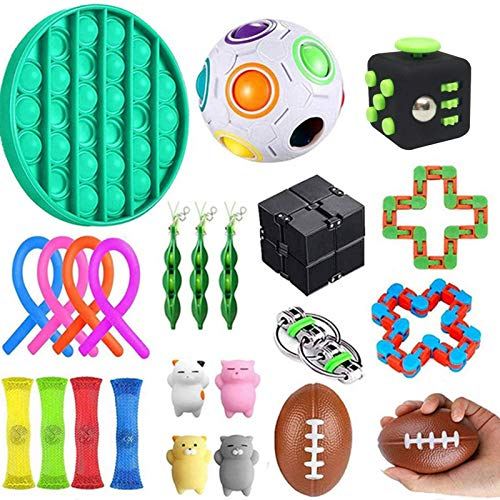 Fuyamp Juguetes sensoriales para autismo, Fidget Toy Fidget Cubo TDAH, bolas de alivio del estrés, apretar soja, cadena Flippy y cuerdas elásticas de gran tamaño con embalaje reutilizable
