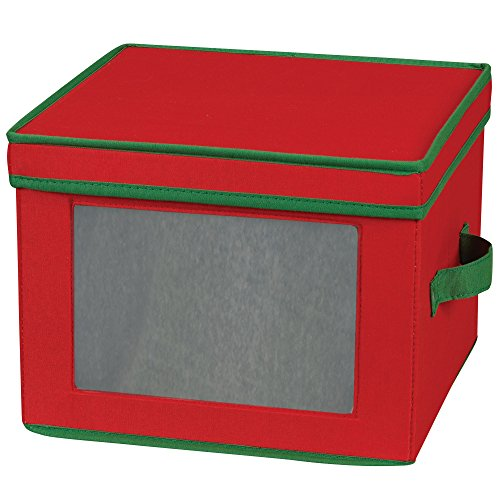 Household Essentials 536RED Holiday China Storage Chest with Lid and Handles | Dinner Plate | Red Canvas with Green Trim