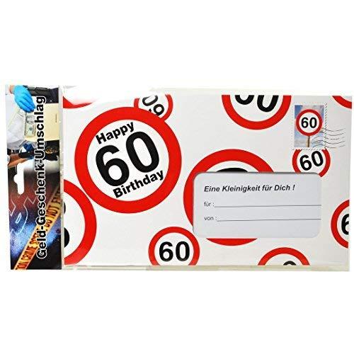 bb10 Schmuck 60.Geburtstag Deko XXL Umschlag für Geldgeschenke oder Gutscheine zum 60.Geburtstag Geburtstagskarte zum 60.Geburtstag