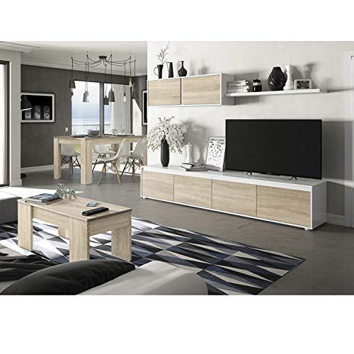 HABITMOBEL Conjunto Salón Moderno Alice, Mueble Salon + Estante con Mesa Comedor Extensible y Mesa de Centro elevable