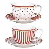 Grace Teaware Red Dot Stripes Scallop 9-Ounce Porcelain...