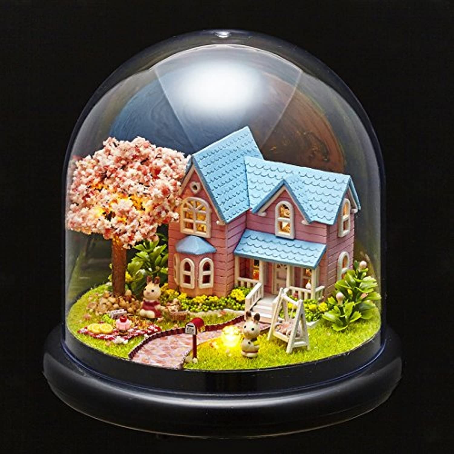 Zhoyea Music Box DIY Cherry Blossoms Tree and Villa Model with Transparent Cover Music Box for Girlfriend Meaningful Gift