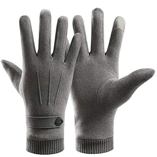 WT-YOGUET Warme Handschuhe für Herren mit Touch-Screen-Motiv, Wildlederimitat, Plüschfutter