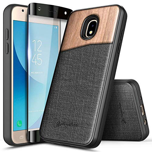 NageBee Case for Samsung Galaxy J7 Crown, J7 Star/J7 Refine/J7 2018/J737/J7 TOP/J7 V 2nd Gen/J7 Aura/J7 Aero with Tempered Glass Screen Protector, Natural Wood Canvas Fabrics Hybrid Case -Wood