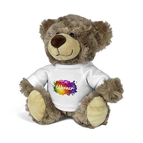 printplanet® Teddybär mit Namen Werner - Kuscheltier Teddy mit Design Color Paint