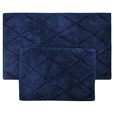 TreeWool 2 Piece Bathroom Rug Set with Latex Sprayed Backing, Non Skid Diamond Accent Bath Mats in 2000 GSM Supreme Soft 100% Cotton High Absorbent, Hand Tufted (21 x34  & 17 x24 ; Navy Blue)