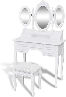 vidaXL Coiffeuse avec Tabouret et 3 Miroirs Blanc Table de Maquillage Commode