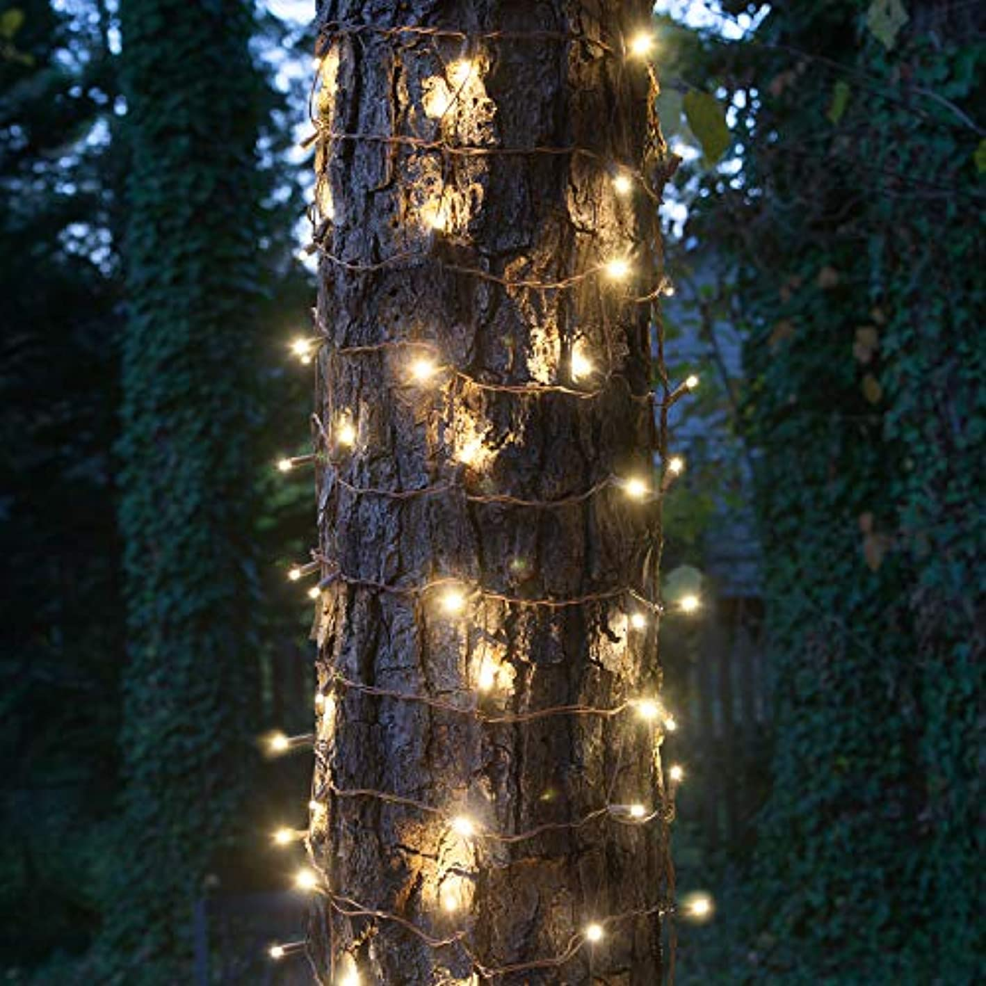 """StretchNet Pro Expandable Christmas Net Lights, Tree Wrap Lights - Trunk Wrap Lights, Column Christmas Lights - Column Wrap Lights (50 Lights, 20"""" x 45"""" Net, Warm White Trunk Wrap Lights, Brown Wire)"""